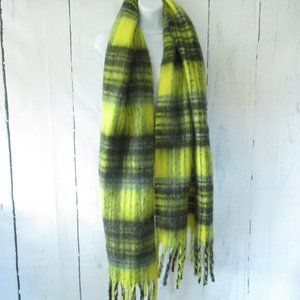 Urban Outfitters Wrap Scarf Yellow Plaid Fringe